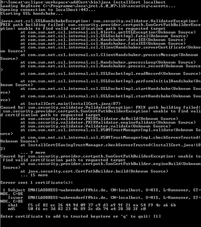 Webservices aus Tomcat 6 über SSL ansprechen